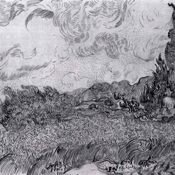 Line Drawing By Vincent Van Gogh : Vincent van gogh lines marks