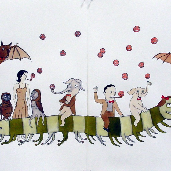 """Untitled, 2003, Ink, Watercolor & Root Beer on Paper, 14"""" x 22"""". (1)"""