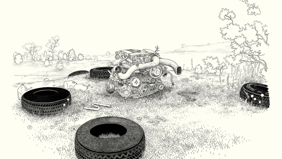 "Anders Nilsen, Car Engine with Tires. Ink on Paper. 38"" x 46"""