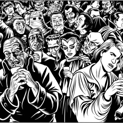 "Charles Burns, ""Frankenstein & Dracula: New Yorker."" (1994)"