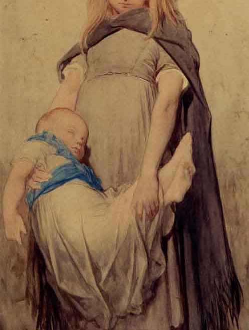 "Gustave Dore, ""Young Beggar,"" Pencil & Watercolor."
