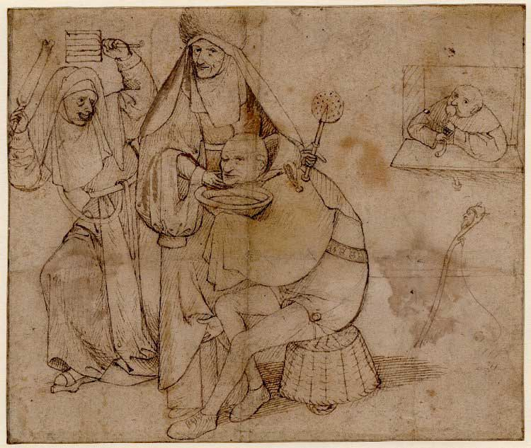 "Hieronymus Bosch, ""A fool seated on a basket about to be shaved by a nun holding a wafer iron."""
