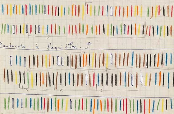 Iannis Xenakis, Notebook, 1959, spiral-bound notebook, 12 3/8 x 9 5/8 inches. (From Gallery Crawl)