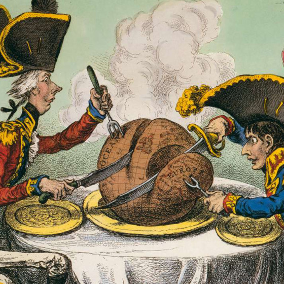 "James Gillray, ""The Plumb Pudding in Danger."""