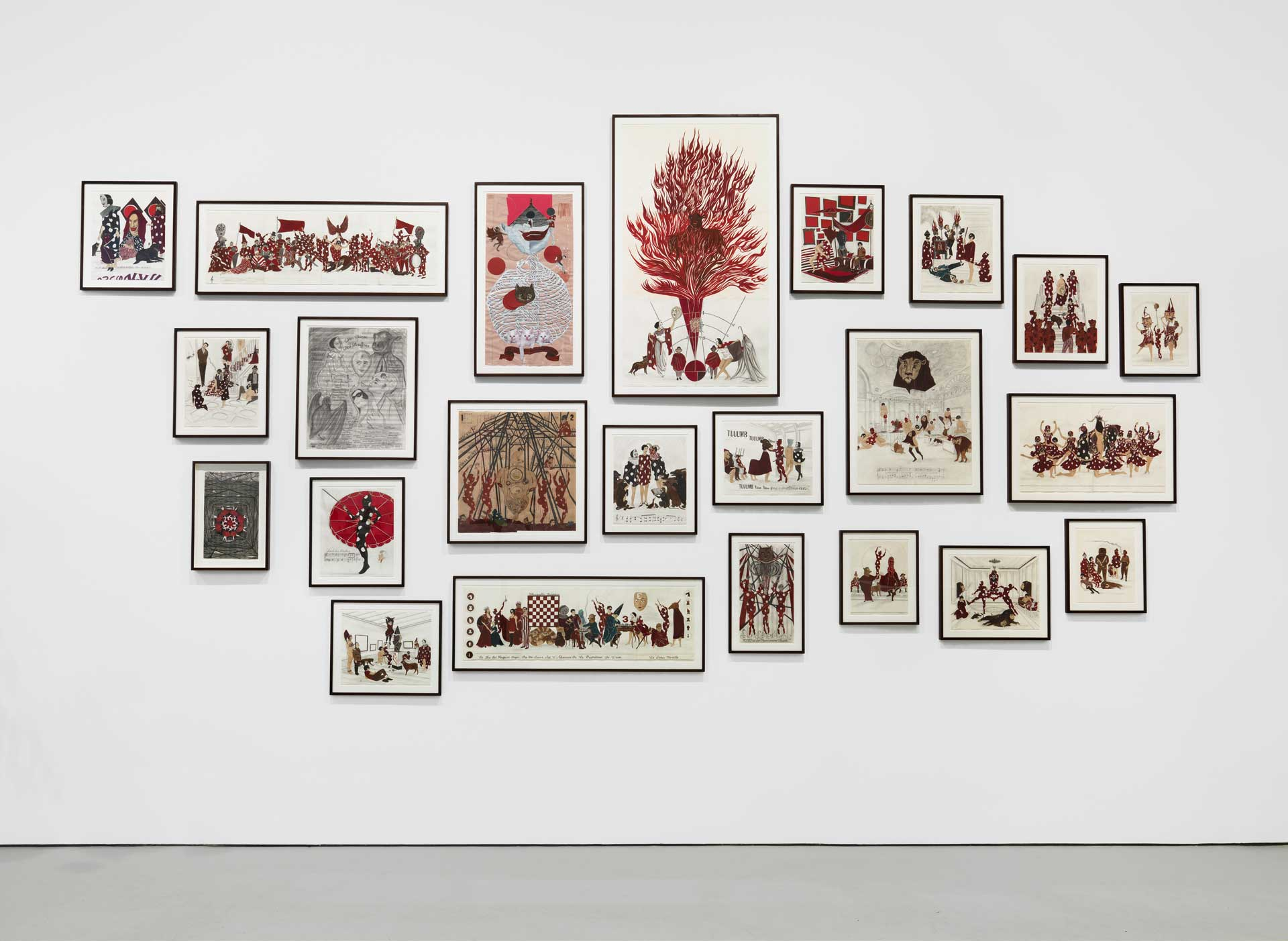 "Installation view from Marcel Dzama's solo show, ""Une Danse des Bouffons (A Jester's Dance)"" at David Zwirner, NY. (2014)"