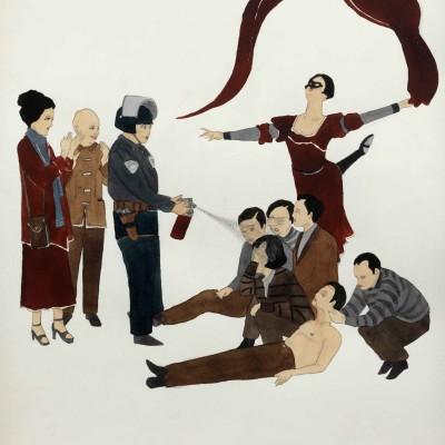 "Marcel Dzama, ""Pepper Spray Saturday."" (2011)"