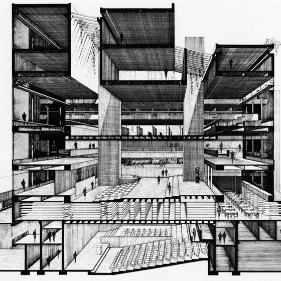 Art and Architecture Building, Yale University, New Haven, Connecticut. Perspective section after 1964