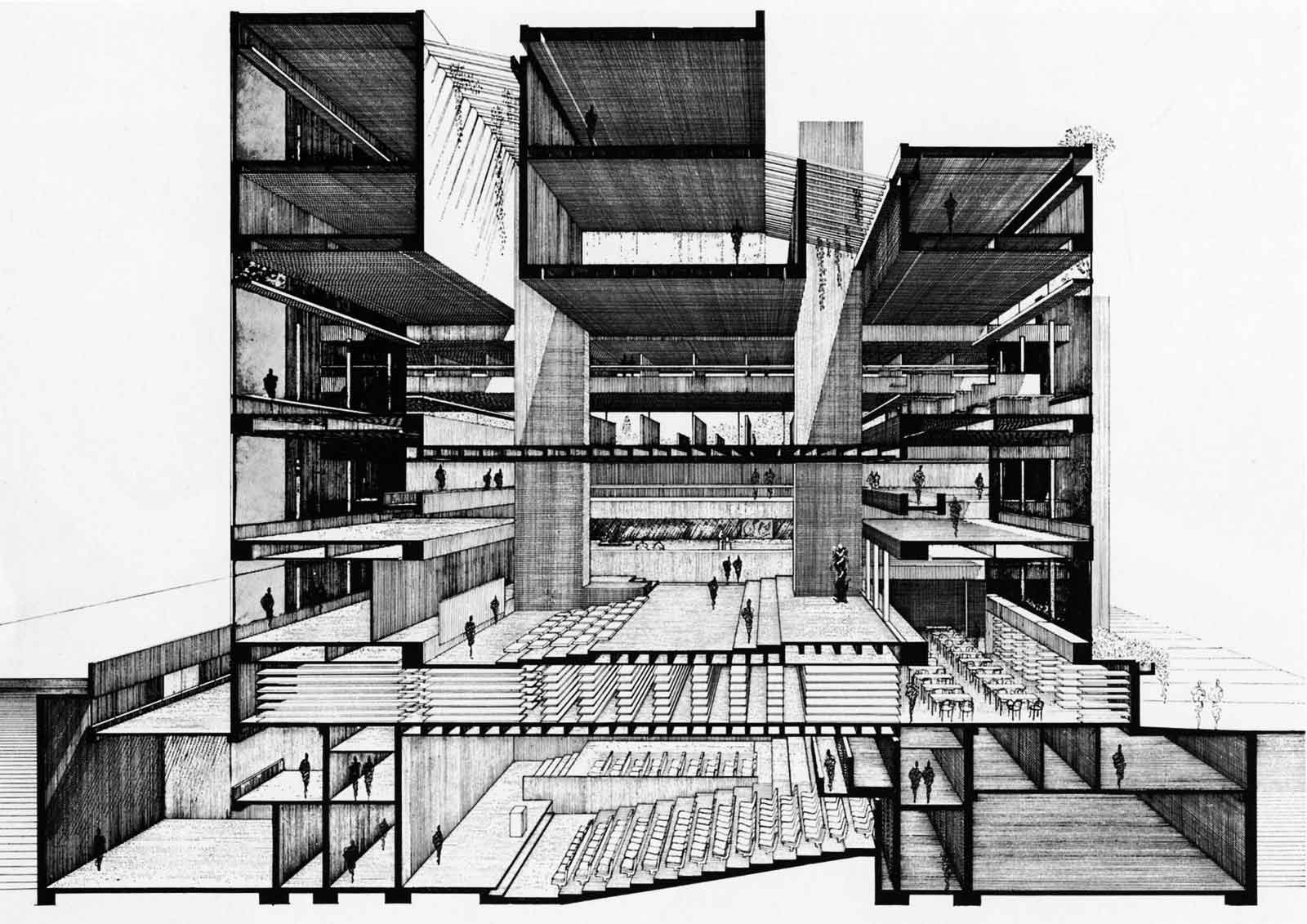 Paul marvin rudolph lines marks for U of a architecture building