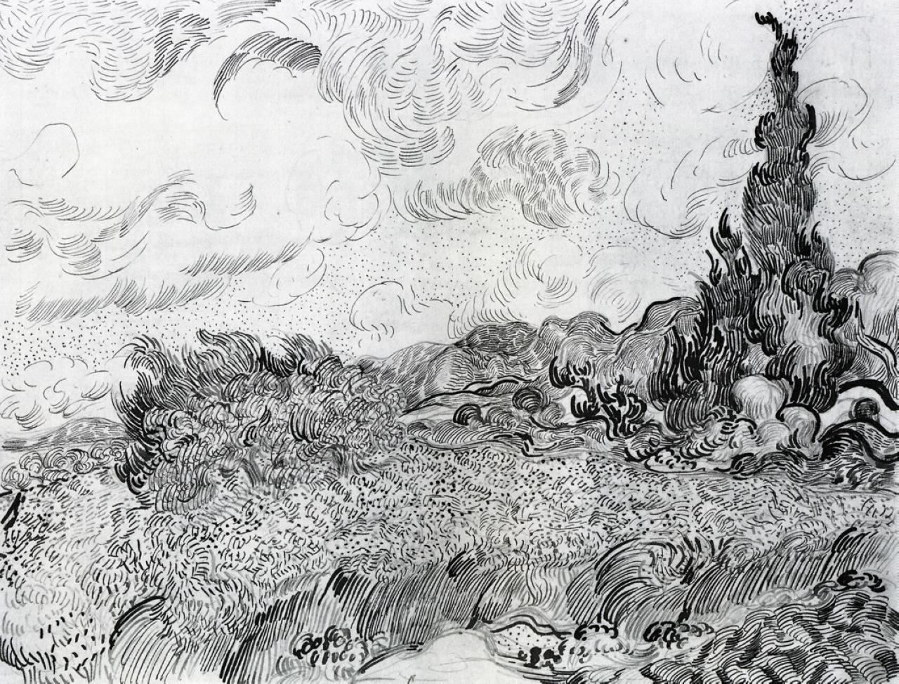 Line Drawing Landscape Artists : Vincent van gogh lines marks