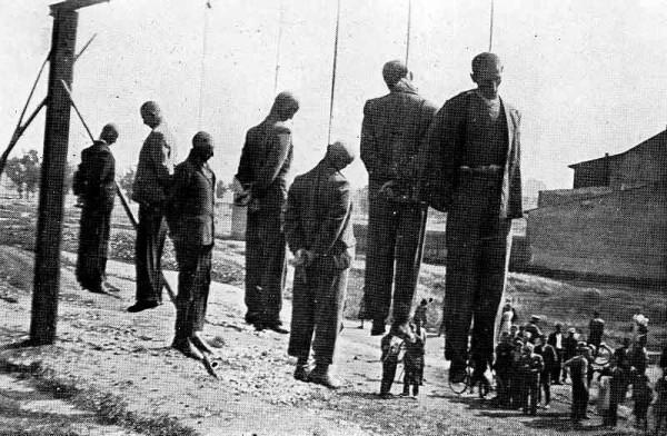 Public execution by the Nazis near Płaszów-Prokocim train station in Krakow, 26 June 1942