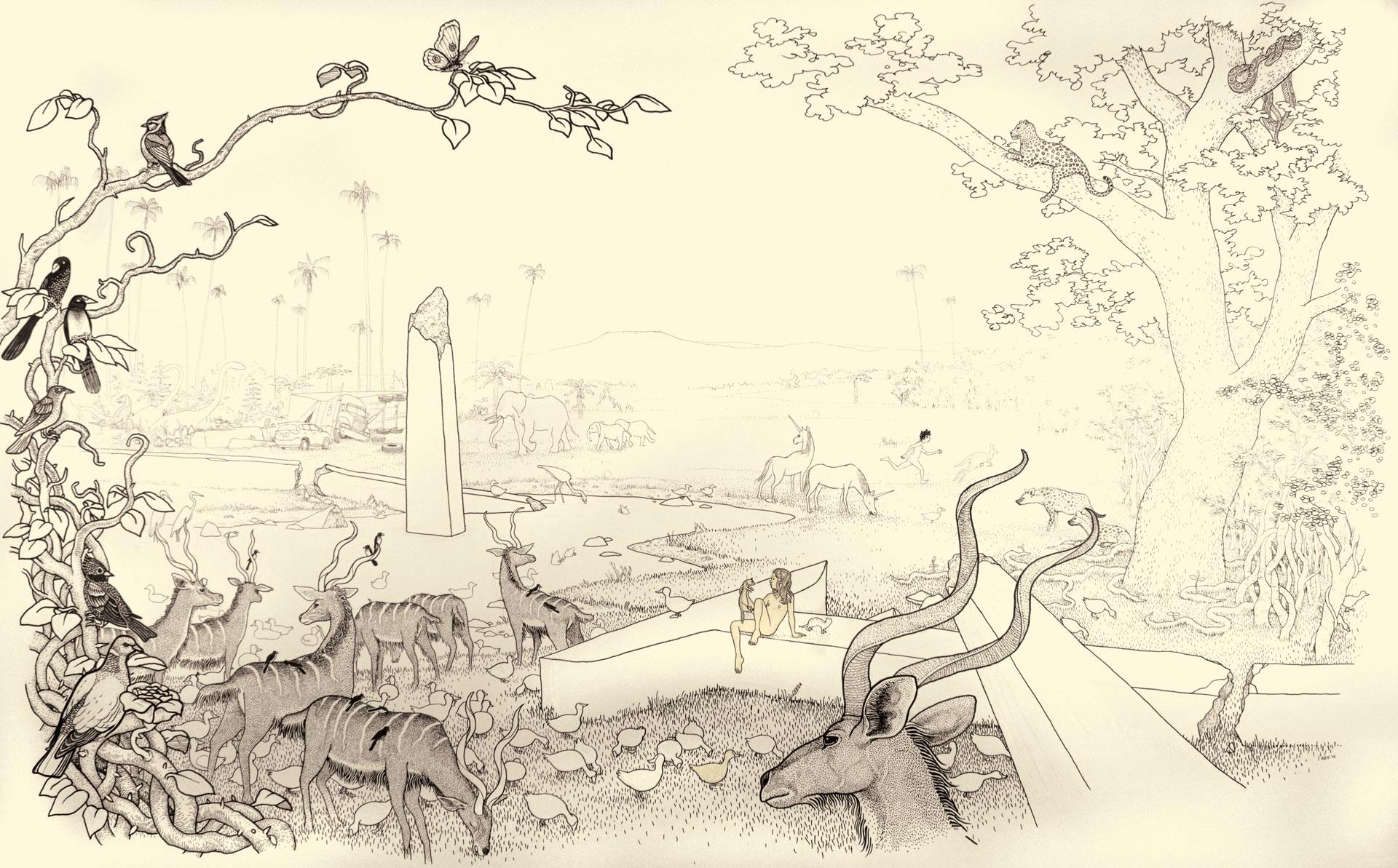 """Anders Nilsen, """"Adam and Eve in the Garden."""" 2012. Ink on Paper. 58""""x40"""""""