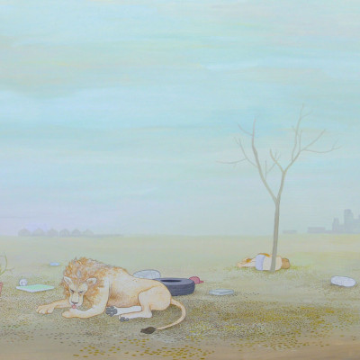 """Anders Nilsen, """"Adam and Eve and the Lion of Saint Jerome."""" 2004. Gouache on board."""