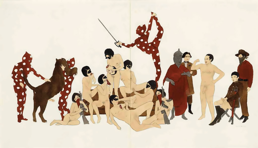 """Marcel Dzama, """"The carnal, bloody, and unnatural arts were all in good fun."""" (2010)"""